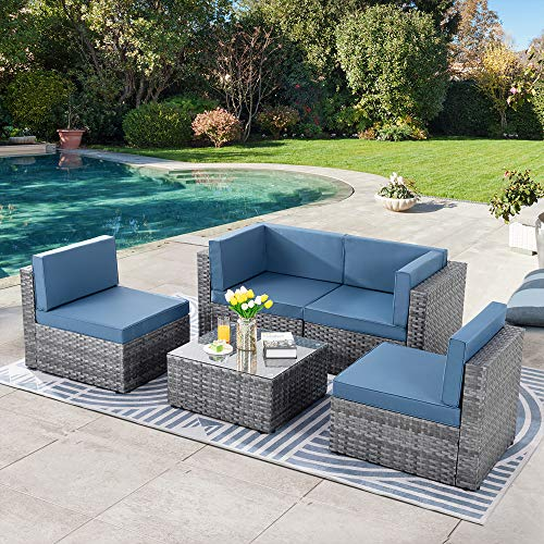 SUNLEI 5pcs Patio Conversation Set Outdoor Furniture Sets,Low Back All-Weather Rattan Sectional...