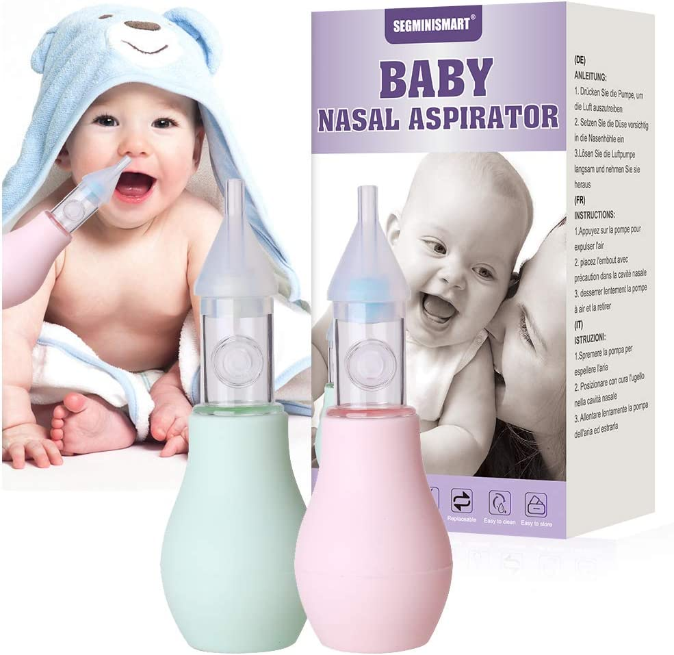 Aspirador Nasal Bebes, Aspirador Nasal, Limpiador Nasal Bebe, Portátil aspirador nasal para Recién Nacidos, Reutilizable, 100% seguro mocos limpiador, 2 PCS