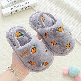 B/H Cómodas Suave Slippers,Zapatillas de algodón Antideslizantes Interiores cálidas para niños-Gris_22-23 / Longitud Inter...