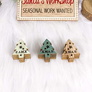 YYIXING 24 قطعة DIY الطبيعية الجوف خارج رقاقة خشبية معلقة شجرة عيد الميلاد الحلي F ندفة الثلج (اللون: شجرة عيد الميلاد)