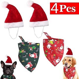 GABraden Merry Christmas Dog Bandana Reversible Triangle Bibs Scarf Accessories,Adjustable Christmas Santa Hat for Dogs