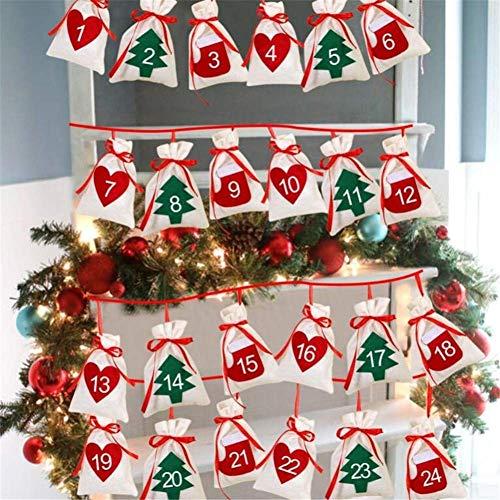 ausuky ChristmDecember cuenta regresiva 2019 Calendario familiar de Adviento Calendario Sacks Bolsos Bolas Bolas Decoraciones para Familia, 24x