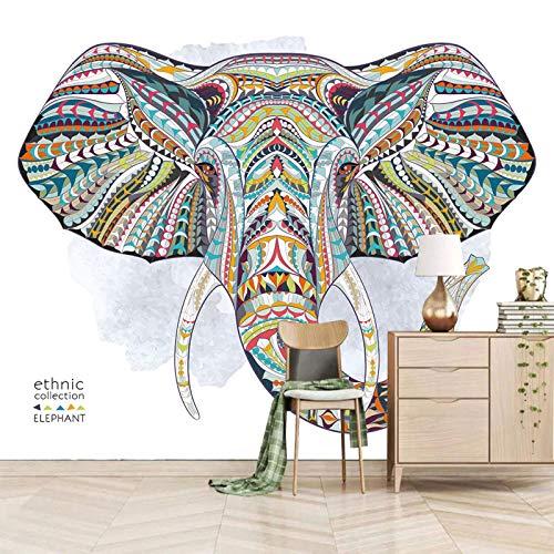 SJKstore Papel pintado mural 3D Dibujos animados, elefante, indio, animal 250x175CM Calcomanías de pared decorativas, calcomanías artísticas, calcomanías murales removibles, calcomanías de pared para