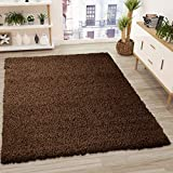 VIMODA Teppich Prime Shaggy Farbe Braun Hochflor Langflor Teppiche Modern, Maße:70x140 cm