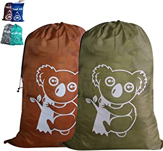 Unicité 2 Pack Travel Large Laundry Bag(36X25 inches) Durable Storage Bag with Drawstring Cord Lock Closure for College Dorm, Travel, Home Storage (Koala,Brown&Green)