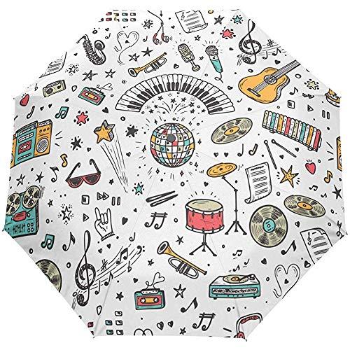 Music Guitar Rock Piano Auto Open Umbrella Sun Rain Umbrella Anti UV Folding Compact Automatic Umbrella