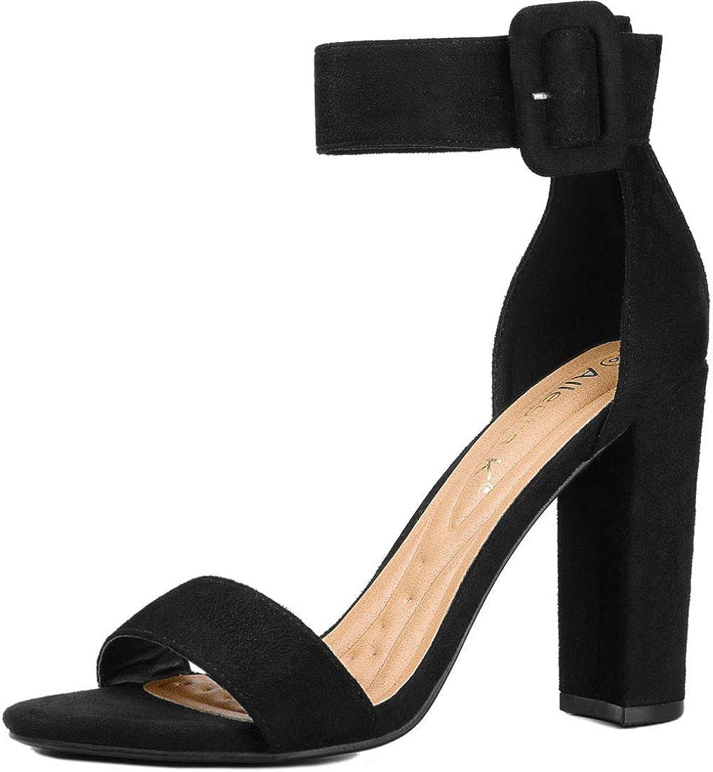 Allegra K Women's Ankle Strap Block High Heel Sandals