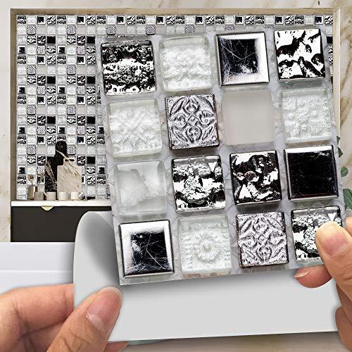 Pelar Y Pegar Azulejos Para Salpicaduras Para Cocina / Baño, Pegatinas Para Azulejos De Baño, Pegatinas Para Azulejos Estilo Diamante Gris 15x15cm MZ-186