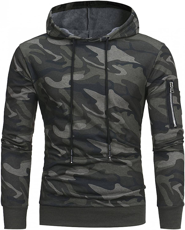 Hoodies for Men Pullover Camouflage Printed Men's Athletic Sweatshirt Long Sleeve Drawstring Hooded Hoodies with Pockets