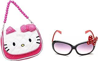 Sanjis Combo Of Cartoon Kitty Crossbody Hand Purse for Girls Kids Toddler Mini Cute Princess Handbags Shoulder Messenger P...