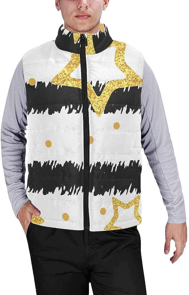 InterestPrint Winter Lightweight Personality Design Padded Vest for Men Soleil Cosmos Astrology Pattern