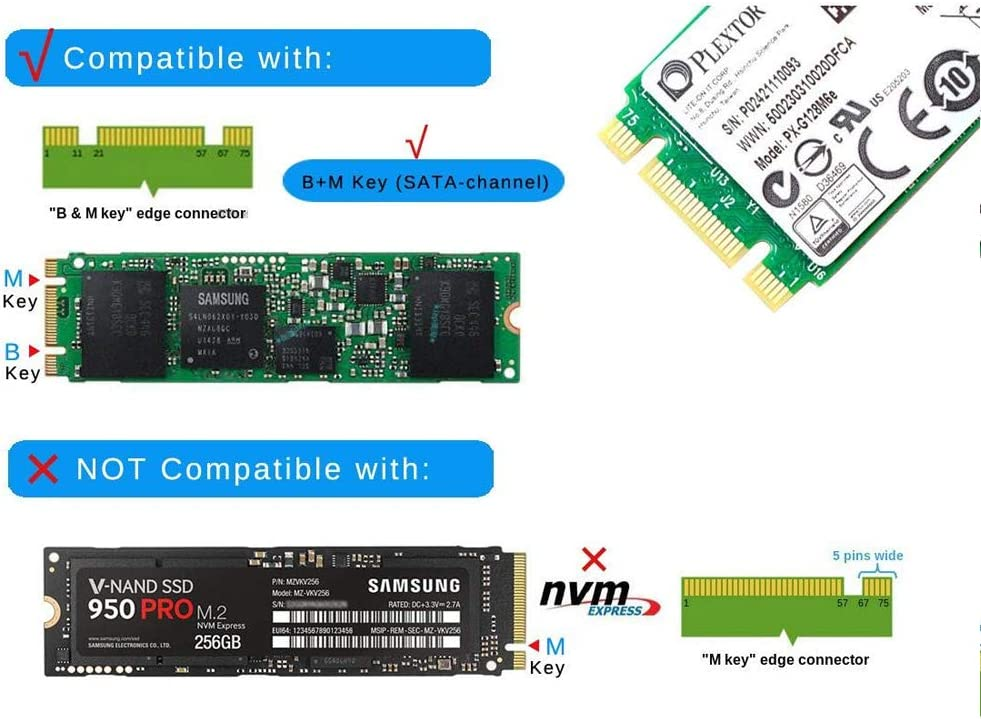 Black M.2 SATA SSD to USB 3.1 Adapter,Aluminum M.2 NGFF to USB 3.1 M.2 SSD Enclosure External Support NGFF M.2 2280 2260 2242 2230 SSD with Key B//Key B+M