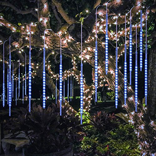 BlueFire Upgraded 50cm 10 Tubes 540 LED Meteor Shower Rain Lights, Falling Rain Drop Christmas Lights, Waterproof Cascading Lights for Holiday Party Wedding Christmas Tree Decoration (Blue)