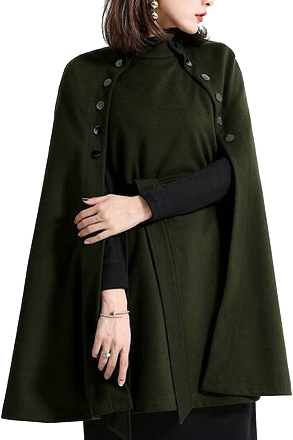 HTOOHTOOH Womens Solid color Mock Neck Wool Blend Pea Jacket Poncho Shawl