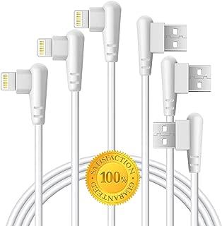 Boost 直角充电器 10 英尺线 90 度快速数据线,适用于 iPhone X 手机壳/8/8 Plus/7/7 Plus/6/6s Plus,iPad Mini 保护套(白色)3M,3 件装