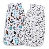 Lictin Baby Sleeping Bag 0.5 Tog- 2 Pcs Baby Wearable Blanket Sleeping Sack Baby Swaddle Sack with Adjustable Length (70-90 cm)