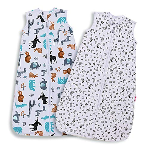 Lictin Baby Sleeping Bag 0.5 Tog -2 PCS Baby Wearable Blanket Sleeping Sack Baby Swaddle Sack Blanket Sack with Adjustable Length 90-110cm for Infant Toddler 18 to 36 Months