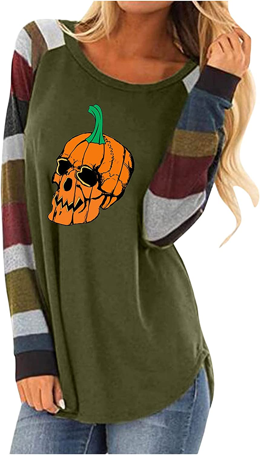felwors Halloween Costumes for Women,Womens Colorblock Vintage Crewneck Halloween Print Long Sleeve T-Shirts Casual Tops