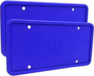 Panykoo 2 Pack Universal Silicone License Plate Frame,License Plate Holder,Rust-Proof,Rattle-Proof,Weather-Proof,Blue