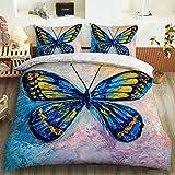 QXbecky Juego de Cama Butterfly 3D Serie de teñido e impresión reactiva Funda de edredón Funda de Almohada 2, Juego de 3 Piezas de Microfibra cepillada cálido y Transpirable 228cm