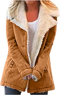 Composite Plush Button Jacket, QIQIU Womens Winter Plus Size Loose Lapels Pockets Long Sleeve Jacket Loose Outwear Coat