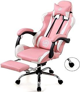 Silla Manera De La Oficina Reclinable Rosa Gaming Gaming con Estilo Oficina Presidente Inicio del Estudio Computarizado Elevable Y Giratoria (Color : Pink)