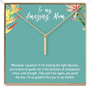 Mother's Day Necklace: Mother's Day Jewelry, Bar (Gold-Plated-Brass, NA)