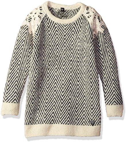 GUESS Girls' Little Crochet Overlay Sweater Dress, White/Black Herringbone, 2