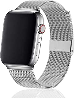 R-JADO Compatible for Apple Watch Band 38mm 40mm 42mm 44mm, Stainless Steel Mesh Sport Wristband Loop with Adjustable Magnet Clasp for iWatch Series 1,2,3,4,5 (Silver, 42mm / 44mm)