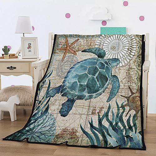 Fansu Kuscheldecke Flanell Fleecedecke, 3D Blau Ozean Tierserie Flauschige Weich & Warm Microfaser Leichte Plüsch Wohndecke Sofadecke/Tagesdecke für Sofa & Bett (150x200cm,Schildkröte)