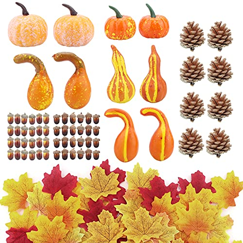 CNNIK - Set di 166 piccole zucche in schiuma con foglie d'acero e decorazione di Halloween falso ghianda castagno pigne per autunno raccolto casa tavolo Ringraziamento