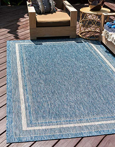 Unique Loom Outdoor Border Collection Casual Solid Border Transitional Indoor and Outdoor Flatweave Blue Area Rug (4' 0 x 6' 0)