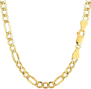 "14K Yellow Gold 4.6mm Shiny Diamond-Cut Alternate Classic Hollow Figaro Chain Necklace for Pendants and Charms with Lobster-Claw Clasp (18"", 20"", or 24 inch)"