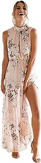 Women Maxi Dress FAPIZI Chiffon Floral Print Sleeveless Backless Casual Boho Turtleneck Beach Long Dress