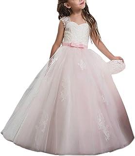 VIPbridal Vestido Rosado de la Muchacha de Flor del Amor del cordón para la Manga del Casquillo de la Boda