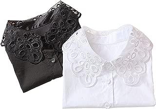 2Pcs Lady Shirt False Collar Lace Half Shirt Detachable False Faux Collar Cuff Cotton Choker Tie