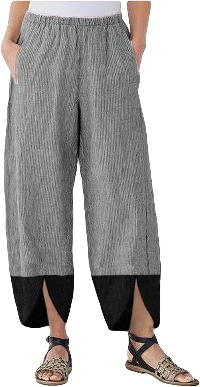 Women's Fashion Cotton Linen Stitching Irregular Retro Loose Casual Pants