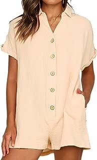 Sexyshine Women's V Neck Button Down Cotton Linen Short Jumpsuits with Pockets