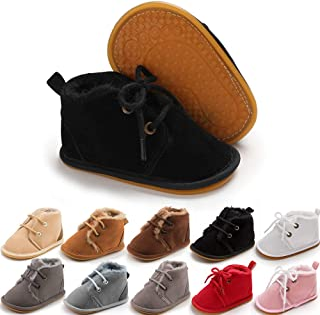 Baby Booties Newborn Infant Unisex Baby Girls Boys Velvet Rubber Anit-Slip Sole Shoes Toddler Fleece Cozy Winter Warm Prewalker Boots