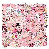 Pink Piggy Stickers 103PCS Kawaii Anime Pig Waterproof Decors for Notebook Water Bottle Laptop Pencil Case Coffee Cup Cute School Supply as Kids Gifts