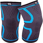 GRASSVERY Knee Compression Sleeve Support, Knee Brace for Arthritis Pain & Support for Running, Gym Fitness, Athletics, Working Out, Sports, Crossfit - Men & Women Knee Sleeve (Pair) (Large)