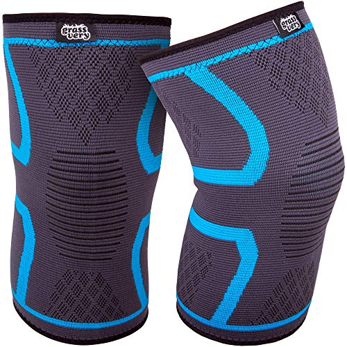 GRASSVERY Knee Compression Sleeve Support, Knee Brace for Arthritis Pain & Support for Running, Gym Fitness, Athletics, Working Out, Sports, Crossfit - Men & Women Knee Sleeve (Pair) (Medium)