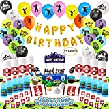 Birthday Party Supplies for Game Lovers, 153 pcs Video Game Party Decorations for Boys - Table Cloth,Cake Toppers,Balloons,Bottle Labels,Coins Stickers,Candy Wrapper,Towel Wrap