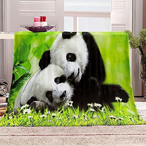 Manta Sherpa con Estampado Panda Hierba 3D Mantas de Franela Súper Suave de Lana Manta de Viaje Polar Multiuso para Cama Infantil Individual 70x100cm