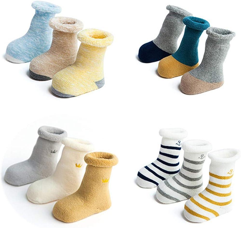 Baby Toddler Socks - Soft Warm Socks Kids Thickened Middle Tube Cotton Socks