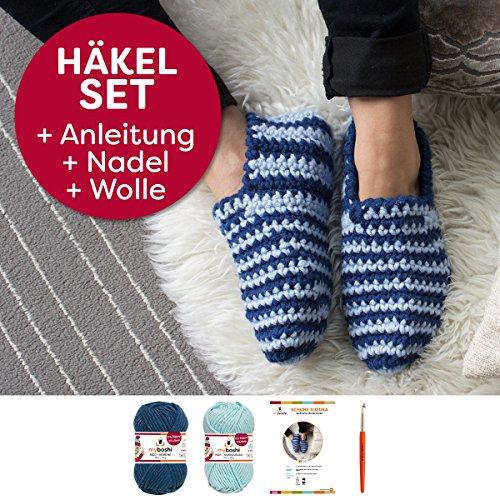 myboshi Häkel-Set Suzuka | aus No. 1 | Anleitung + Wolle | mit passender Häkelnadel | Haus-Schuh-Häkel-Set | Himmelblau Marine
