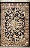 ETNICO Alfombra de seda y lana oriental de un solo nudo Ardabil, hecha a mano, 124 cm x 180 cm, diseño simétrico, color negro