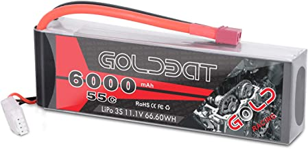 GOLDBAT 11.1V 6000mAh 3S 55C Softcase Lipo Rechargeable Battery Pack with Deans T Plug for RC Traxxas RC Car Truck Buggy RC Boat Airplane Helicopter and Drone (1 Pack)