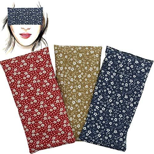 Almohada para los ojos 'Pack de 3 unidades - Flowers' | Semillas de Lavanda y arroz | Yoga, Meditación, Relajación, descanso de ojos...