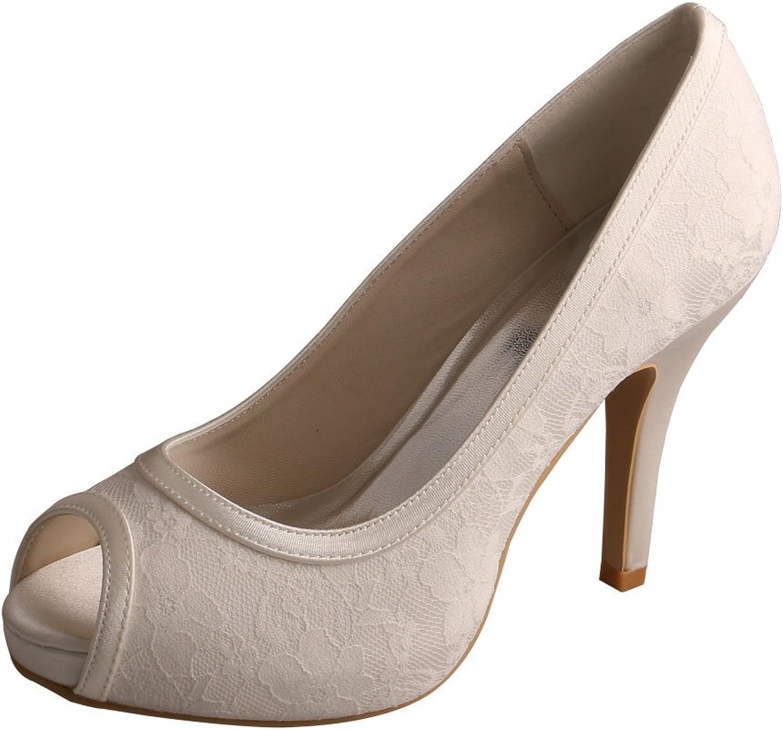Wedopus MW13101 Women's Peep Toe High Heel Platform Lace Wedding Party Dress shoes